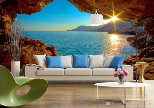 119 3d space sunrise sunrise modern tv background wall