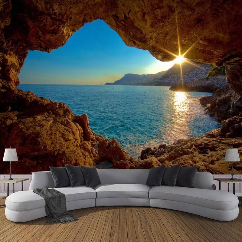 Custom Wallpaper 3D Cave Sunrise Seaside Nature Landscape Murals Living Room Sofa Bedroom Backdrop