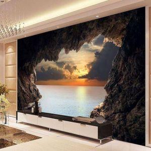 3d Cave Sunrise Ocean Wallpaper Elegant 3d Cave Sunrise Ocean Stereoscopic Wallpaper Mural