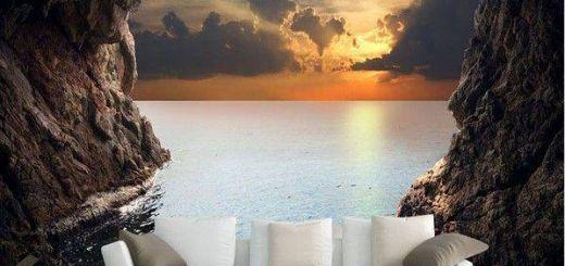 3d Cave Sunrise Ocean Wallpaper Lovely 3d Cave Sunrise Ocean Stereoscopic Wallpaper Mural
