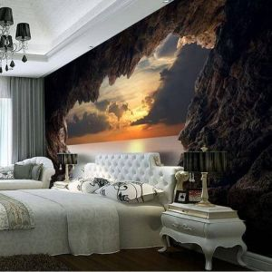 3d Cave Sunrise Ocean Wallpaper New 3d Cave Sunrise Ocean Stereoscopic Wallpaper Mural
