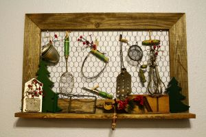 Antique Looking Home Decor Inspirational Old Wood Frame with Chicken Wire Vintage Kitchen Utensil