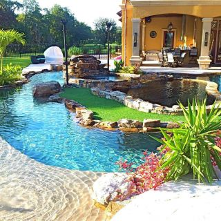 Backyard Oasis Pools and Construction Lovely Backyard Oasis Lazy River Pool with island Lagoon and