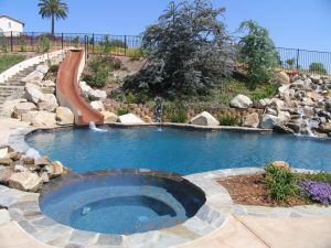 Backyard Pool Designs Beautiful Swimming Pool Slide On the Hill Slopes Boulders