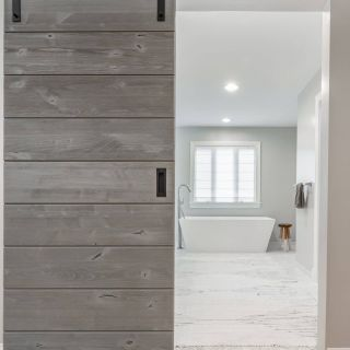 Barn Style Doors Fresh A Rustic Alder Door In A Driftwood Grey Finish On Black