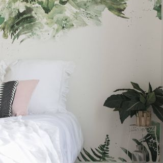 Beautiful Wallpaper Bedroom From Teen Lovely Tropical Green Leaf Removable Wallpaper In 2019