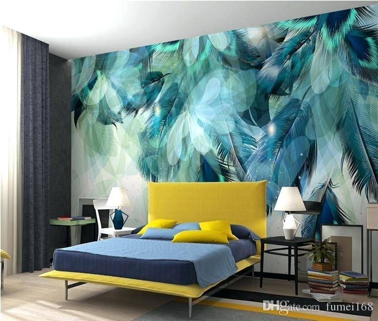 fashion colorful feather 3d mural wallpaper modern abstract art modern bedroom wallpaper modern bedroom wallpaper designs