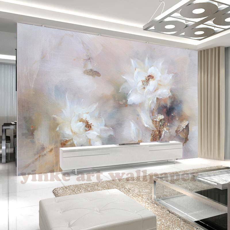 large 3d murals wall paper white hand painted