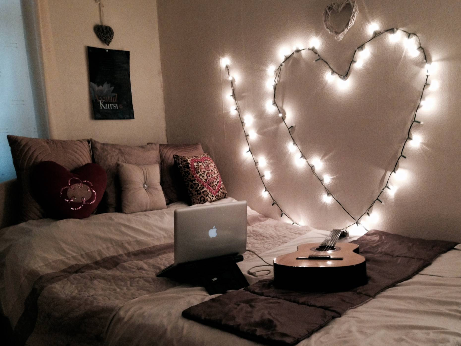Heart shaped string lights wall decor