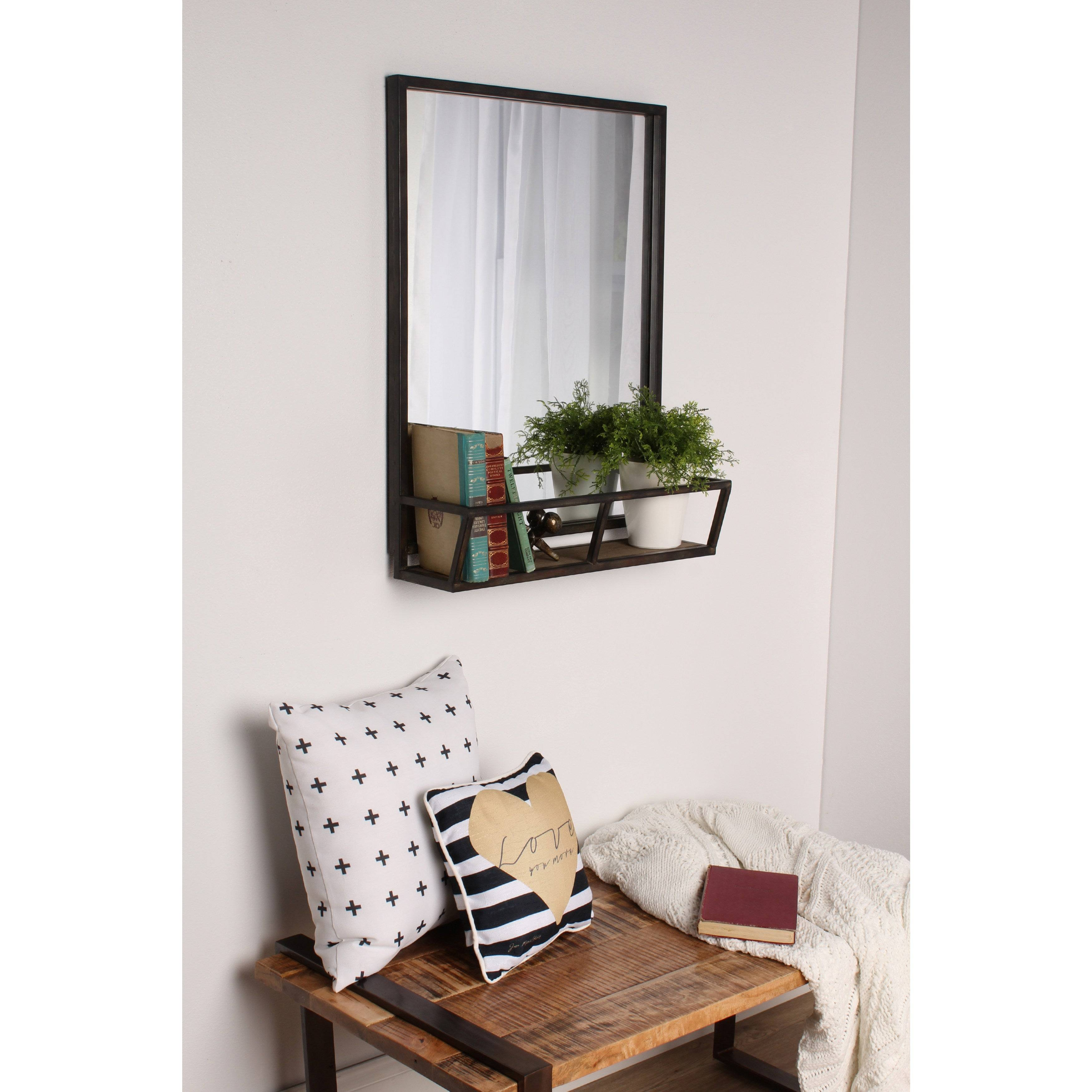 Kate and Laurel Jackson Decorative Rustic Black Metal Home Organizer Mirror With Shelf 018e419c 4dd0 429b 932a 067ea4870aab