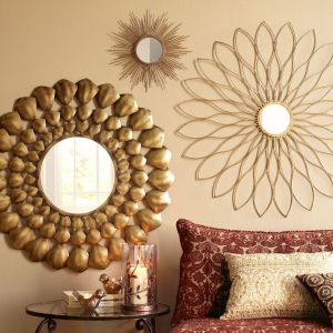 Bedroom Wall Mirrors Decorative Inspirational Petite Gold Burst Round Mirror Pier One Imports