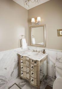 Beige Walls Elegant Custom Home Build Powder Room