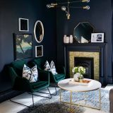 Blue Color Room Design Beautiful Green Velvet Chairs and Dark Blue Moody Walls E Room