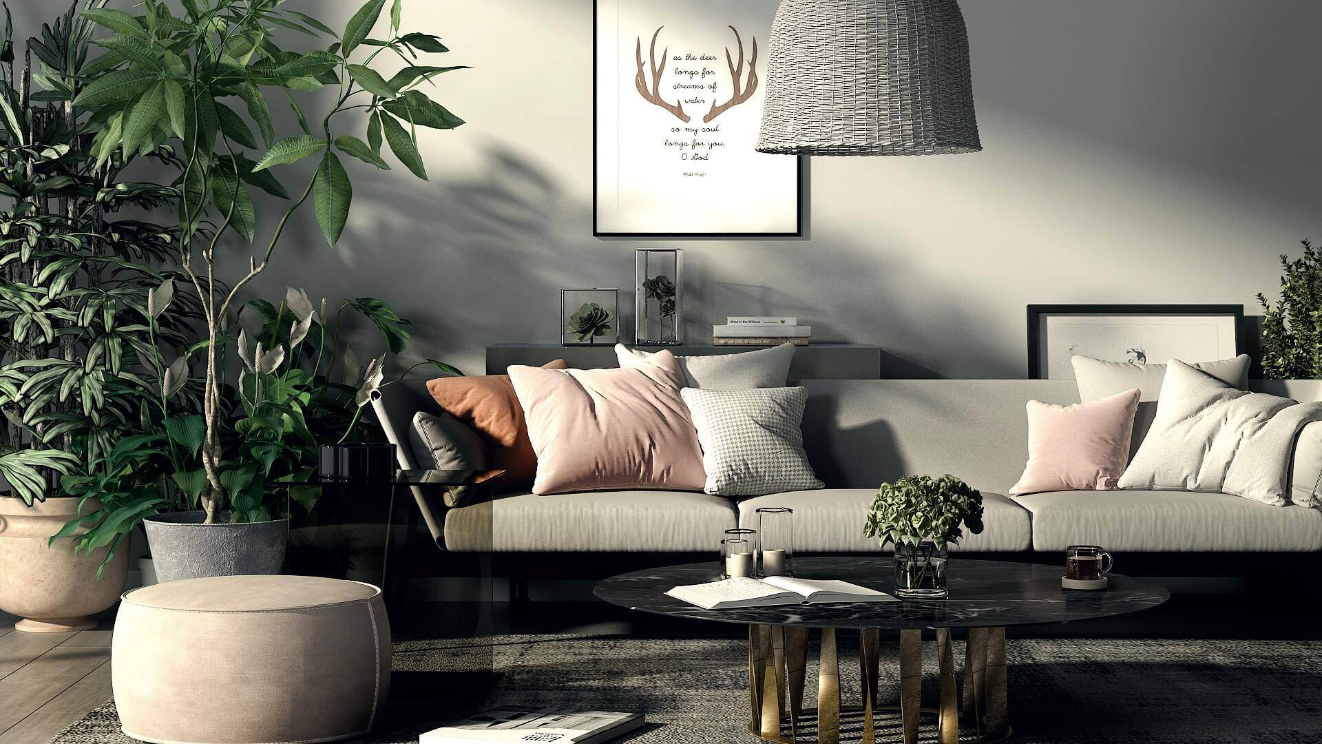 NONAGON style n9s studio render of the week lixe living room boho eclectic rattan lampshade plants marble gray pink sofa