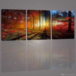 Canvas Wall Art Ideas Beautiful 2019 Canvas Painting 3 Panels Maple forest In Autumn Landscape Wall Art Decor Printed Stretched Framed for Living Room Fice Decoration From