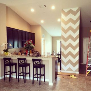 Chevron Room Ideas Beautiful Chevron Accent Wall In Kitchen Obsessed Home