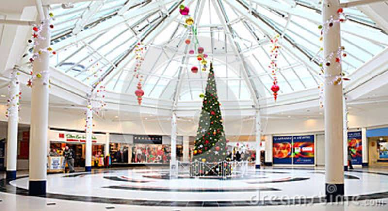 christmas decorations shopping mall festive tree modern centre mander centre wolverhampton uk