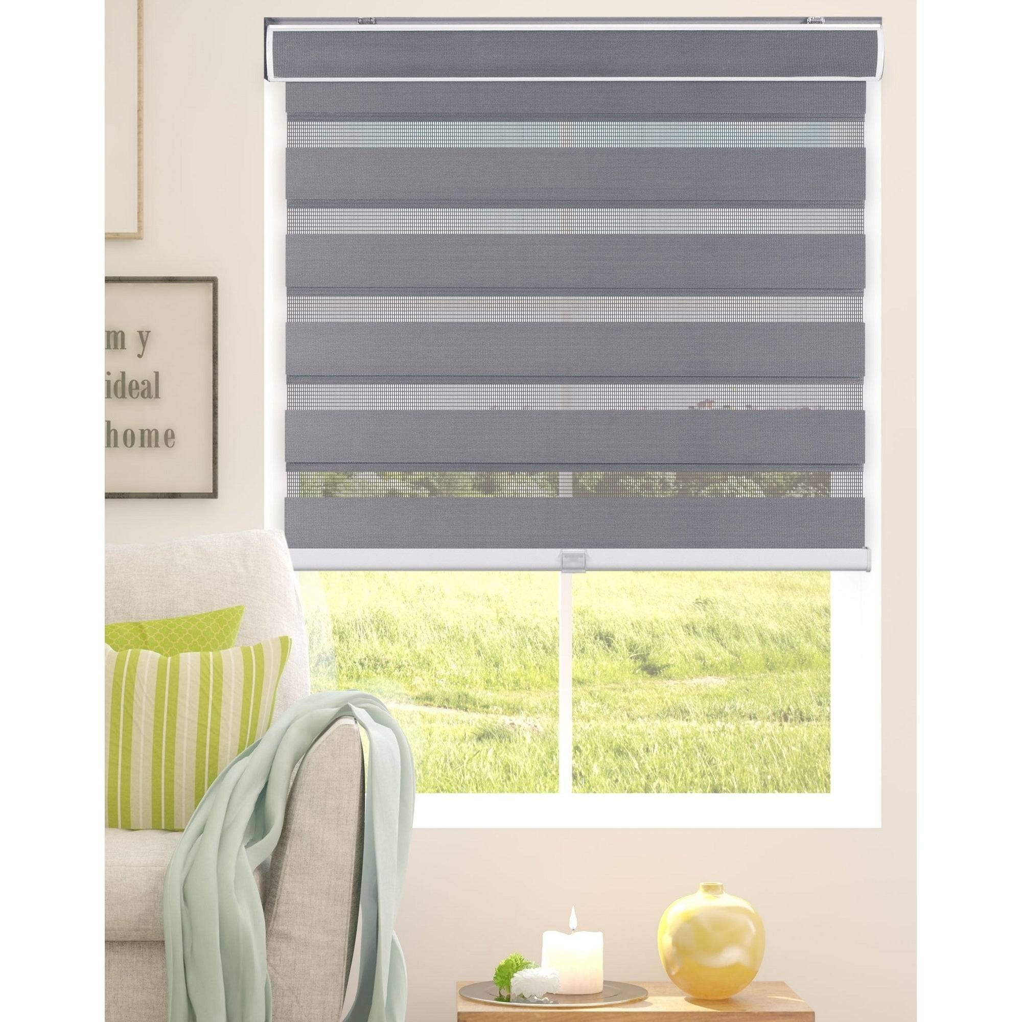 Arlo Blinds Grey Cordless Zebra Roller Striped Sheer or Privacy Shade 2d3da593 45c9 42c4 b774 5b031cbc4d48