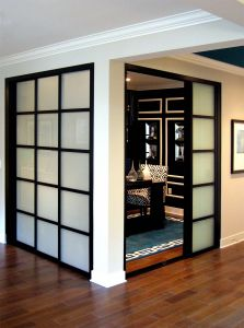 Contemporary Glass Doors Awesome Wall Slide Doors with Laminated Glass & Black Frame