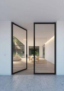 """Contemporary Glass Doors Luxury Double Glass Door with """"steel Look"""" Frames Portapivot"""