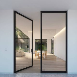 "Contemporary Glass Doors Luxury Double Glass Door with ""steel Look"" Frames Portapivot"