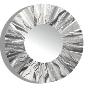 Contemporary Wall Mirrors Decorative Elegant Round Silver Modern Metal Wall Art Contemporary Wall Mirror Home Accent Decor Sculpture by Jon Allen Mirror 105