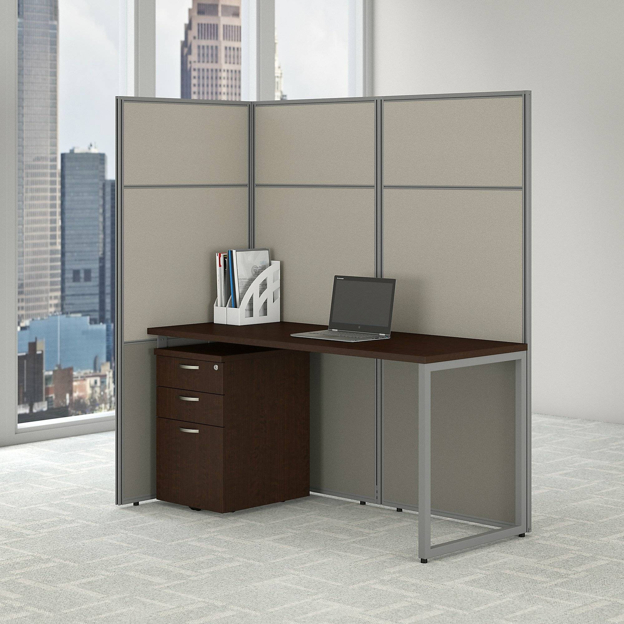 easy office cubicle desk with file cabinet and open panels workstation
