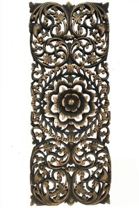Dark Brown Wall Decor Luxury Floral Tropical Carved Wood Wall Panel asian Wall Art Home