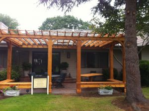 Deck Plans with Pergola Awesome Cedar Pergola with Built In Bench Seating