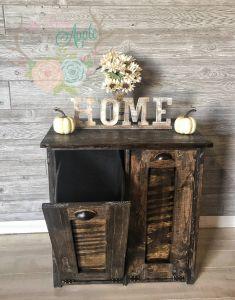 Decorative Kitchen Trash Cans Elegant Double Tilt Rustic Trash Bin Holder Custom Made Barn Wood