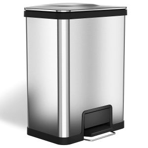 Decorative Kitchen Trash Cans Luxury Halo Airstep 13 Gallon Kitchen Trash Can – Stainless Steel Step Trash Can with Deodorizer – Replaceable Air Damper Silent and Gentle Lid Close