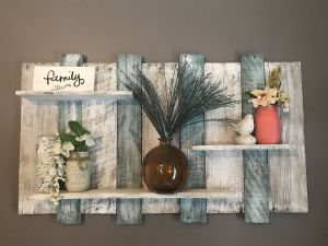 Decorative Wooden Wall Shelves Unique Extra Wide Pallet Shelf Wood Shelf Wall Shelf Blue and