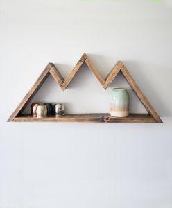Decorative Wooden Wall Shelves Unique Wood Mountain Shelf Geometric Wall Decor Geometric Nursery