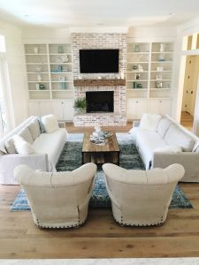 Den Furniture Arrangement Beautiful Coastal Farmhouse Living Room White Washed Brick Oak