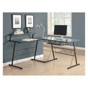 Design Computer Table Elegant Monarch Black Metal L Shaped Puter Desk with Tempered