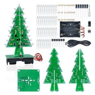 Diy Pendant Light Kit New Aideepen 3d Christmas Tree Led Flashing Light Diy Kit 7 Colors Led Flash Circuit Kit without Batteries