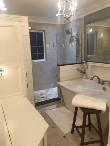Doorless Bathroom New Bath Remodel Shiplap Pinwheel Tile Stand Alone Tub