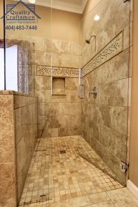 Doorless Bathroom Unique No Curb Walk In Master Shower Travertine Tile and Recycled
