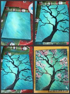 Easy Canvas Painting Ideas Beautiful Step by Step Pink Flowering Tree Painting with Pretty Teal
