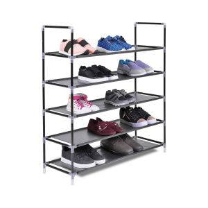 Fancy Shoe Racks Elegant the Hanger Store 5 Tier Shelf Shoe Storage Rack organiser Stand In Black for 25 Pairs Of Shoes 88 X 30 X 91cm