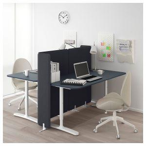 Floating Desk Ikea Unique Bekant Desk with Screen Linoleum Blue White