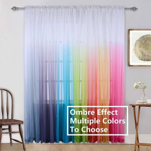 French Door Window Covering Awesome Kids Girls Bedroom Sheer Curtains Colorful Rainbow Ombre Window Panels Drapes for Teenage Girls Room Living Room Kitchen Nursery Party Birthday