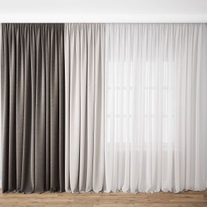 French Door Window Covering Elegant Curtains and Tulle 3d Model Max Obj Fbx 1