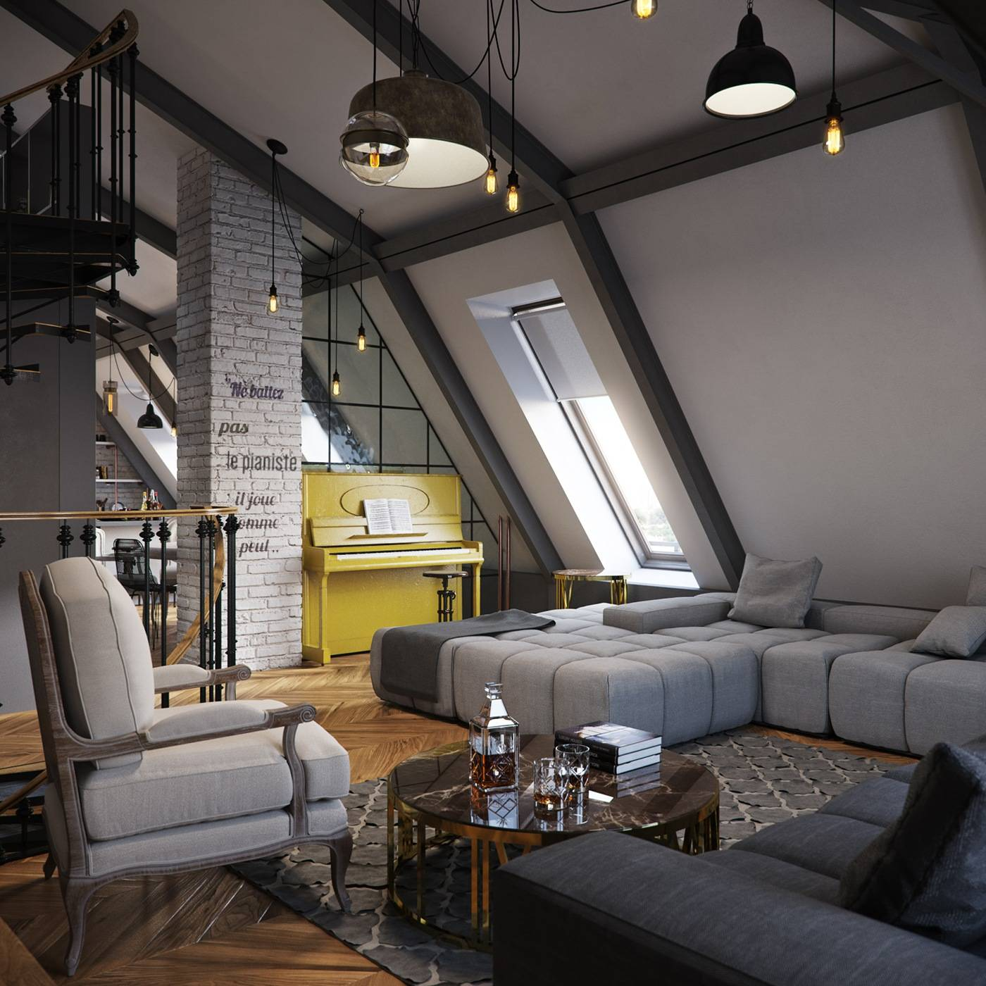 modern loft bedroom ideas elegant three dark colored loft apartments with exposed brick walls of modern loft bedroom ideas