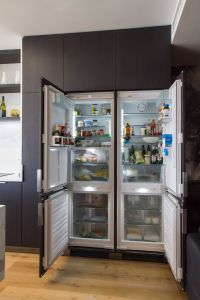 Glass Door Refrigerator for Home Lovely Sleek Modern Kitchen Bar and Laundry with Views to for