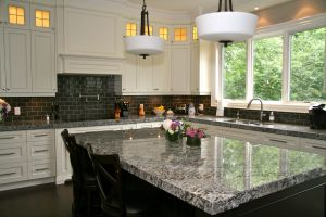 Granite Countertops White Cabinets Fresh Lennon Granite Pleted with Gray Subway Tiles and Cupboard