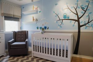 Gray Baby Room Elegant Owl Nursery On Boy S Side Of Room with Gray Chevron Blue