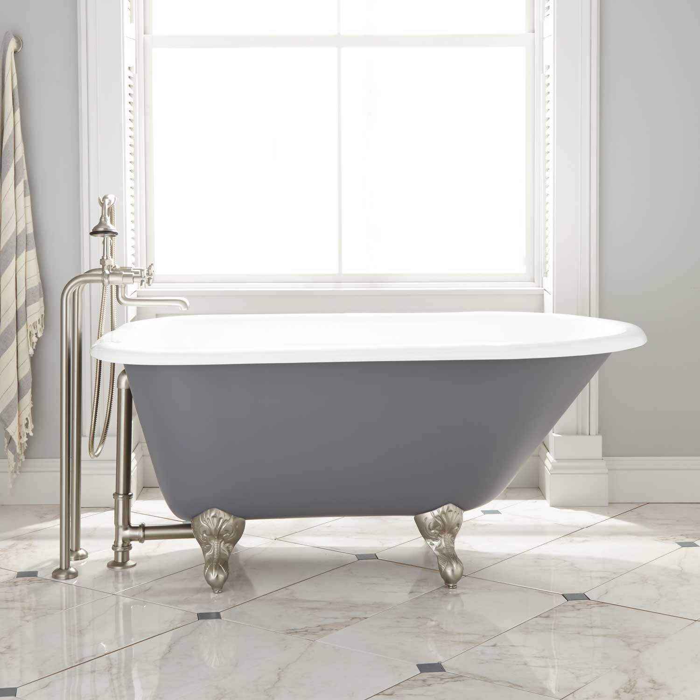 dark gray cast iron clawfoot tub