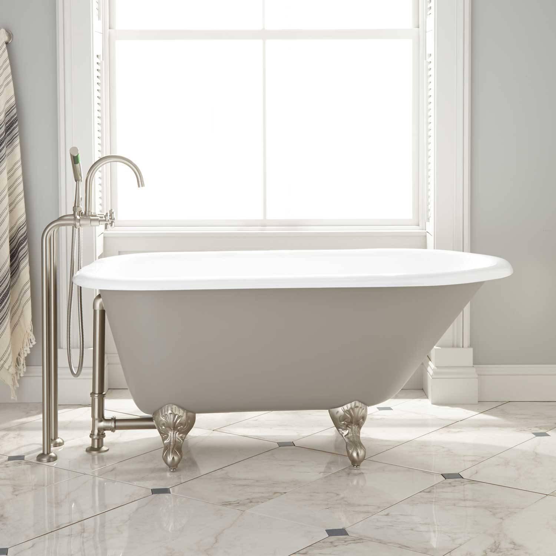 medium gray cast iron clawfoot tub