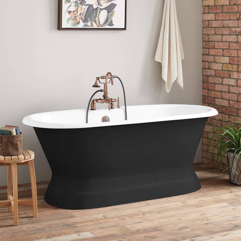 67 cast iron black double ended pedestal tub tap deck